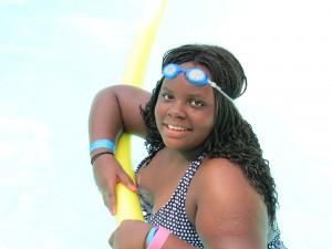 Amani swimming!