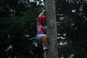Bethan - Our Challenge Course Instructor reaching new heights